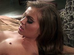Rita Faltoyano makes a long pecker disappear in her hairy pussy