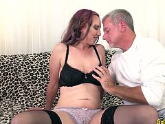 Sexy older woman and a mature guy kiss with each other He sucks her tits and she gives a nice blowjob Then she gets her pussy fucked and licked so good She takes cum in her mouth
