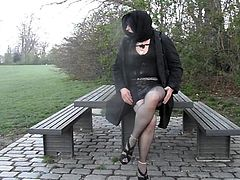 Danish Crossdresser shows her outfit in the park