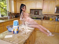 This sexy Asian cook wants to be covered with cum instead of this flour and this perv is ready to help her. Join and enjoy this breathtaking kitchen sex! Hot stuff!