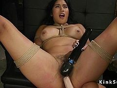 Lesbian anal tormented in threesome