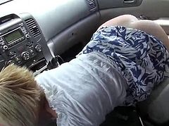Kate suck his uncle in a car