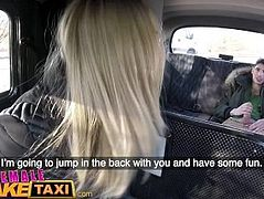 Female Fake Taxi Shy cheating boyfriend fucks blonde cab driver on backseat