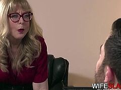 Hot Mature Wife Spreads Her Pussy For Young Office Worker