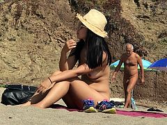 asian nude playing at baker beach 2
