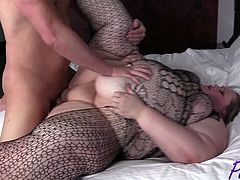 SSBBW Aira Bella fucked in her fishnet body stocking