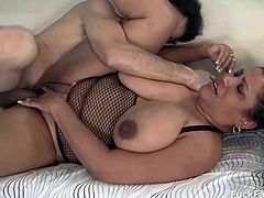 This guy called his ebony neighbor looking for comfort being in a broken marriage. Gets lucky as she came in ready wearing only fishnets. A man maybe broken but never his cock. She sucks cock good and lets him fuck her giggly boobies and pussy.