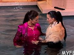 Gelled up bitch teases a man with her taut wet fur pie