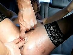 Extreme amateur slut Anna punch fisted in both her prolapsing holes in the back of a car