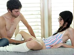 Amazing teen Emily Grey moans loudly while she rides a fat dick
