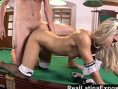 Blond whore Sabrina Blond serves one kinky dude right on the billiard table