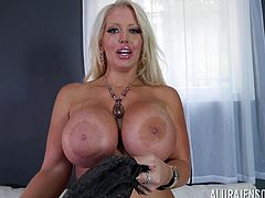 Stunning Alura Jenson putting a fat dick deep in her throat