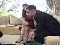 Tied up redhead whipped and banged