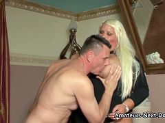 Big boobed fat blonde BBW gets her smooth shaven pussy fucked