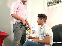 Young Latino Dylan is on the casting couch hoping to get a role in the next porn video daddy Andres is producing. It isnt long before Andres has his pants down and Dylan goes right to work on that big uncut cock. After demonstrating his dick sucking skills, the young man is bent over for some rimming, before Andres takes that ass from behind. The bareback fucking continues when Dylan hops on daddys stiff dick for a raw ride. Then he spins around to face the mature man and cums all over his hai