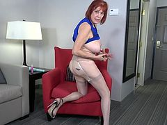 This mature lady lays back in her favorite chair. Pulls out her best dildos and had the ultimate masturbation session. She shoves her dildo up her old vagina and uses the vibrator on her clit to make herself cum.