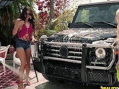 Luna and Sophia are out in their bikinis, washing Jmac's car. They play in the sun, soap, and water, and soon ditch the work in favor of sucking his big cock. The ladies are just having fun outdoors, and getting fucked in the bargain. They are certainly living the good life.