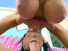The one and only Romi Rain joins us on Swallowed to show off her oral skills among other things. She gets rimmed, deepthroats and even surprises Mike with some quality tit fucking action with those huge boobs before having her mouth pumped full of cum!