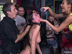Brunette fucking in public crowded bar