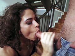 Curly babe Victoria Voxxx is eating hard penis of her hot blooded boyfriend