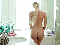 Awesome Natalia Starr finally gets to jump on a long fat dick