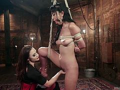 Lewd mistress puts on strapon and fucks wet pussy of tited up Japanese whore Marica Hase