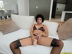 Amethyst is wating for Markus to get home so she can get some dick. She's been waiting all day, so she gets her dildo out and does herself until he comes in. Finding her, he gets right in there, cramming his cock down her throat and then filling her aching, hungry pussy with his white meat.