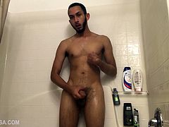 We join Brian Bonerz naked in the shower, giving us a full view of his slim and smooth body as he soaps it down and works up a stiff one. Occasionally he spins around so we can admire his fine looking butt, as that monster continues to grow in his hand. Rinsed off, Brian sits down and begins edging himself toward the much anticipated climax, which finally arrives. Just before we leave hes spotted licking the cum off his hand.
