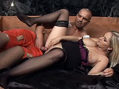 Handsome guy gets to fuck Darina Vanickova and her friend together
