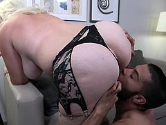 This chubby mature lady is very skilled at sucking cock. She wraps her lips around her man's cock and gives him a sexy blowjob. She pays attention to all parts of his cock and makes him rock hard and ready to cum. He returns the favour by licking her pussy.