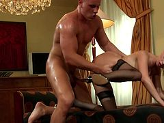 Beautiful amateur blonde is very small and she will get fucked by an older man.