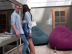Crazy clothed sex with perfectly shaped brunette Yenna