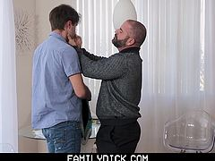 This thoughtful daddy knows his boy needs to slow down and relax before heading off to college. The muscle bear gives his son just what he needs: his big hairy cock down his throat. With his old man's dick in his mouth, getting wetter by the minute, the boy gets hungry to feel it inside his tight hole.