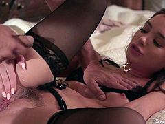 Lovely babe Gia Paige is spanked and fucked by her elder lover