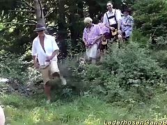 extreme sexy german chicks in a wild outdoor lederhosen groupsex bukkake fuck party orgy