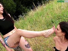 Educating Aline - Lesbians Foot Licking Domination Outdoor