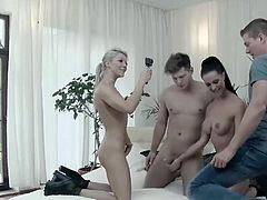 Aby Action joins in with Texas Patti to have a foursome with two hung studs! They take turns fucking and Patti gets penetrated by both big cocks at once!