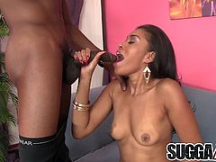 Ebony girl sucks a black dick so good Then takes it in her pussy and gets fucked in many positions She gets facialled in the climax