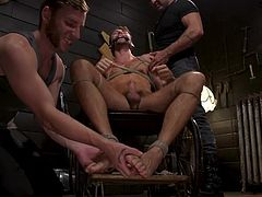 Tied with ropes, without the ability to move and oppose, Max Adonis has to endure and accept all the trials that his gay lovers prepared for him. Hot gay threesome with rope bondage, deepthroat blowjob and much more...