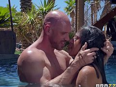 Ella Knox wants it right here, in the water and Johnny Sins is ready to satisfy the busty babe's kinky wish. She sucks Johnny's long dick and puts it between her big natural boobs, before he shoves it deep in her cunt. Have fun!