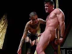 Leigh Raven looks aggressive and even a little scary and, perhaps, Lance Hart has to be careful. She likes to dominate, to humiliate and punish submissive men, and this time Lance is her victim. Join and enjoy rough femdom and bdsm!