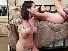 These hot busty milfs prefer rough sex and Ramon Nomar is ready to provide them with his rock hard big dick for this purpose. Join us and enjoy ffm threesome bdsm role play with rough anal, rope bondage and electric sex toys. Hot stuff!