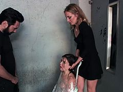 Naked and covered in plastic wrap, Juliette March gets Tommy's fat dick in her mouth. As Mona Wales holds her head, he pushes his penis deeper inside... Join Public Disgrace and enjoy how beautiful girls will be brutally fucked and humiliated in public.