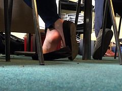 Candid Shoeplay In Class