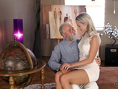Well, this gray-haired man may be old, but he knows how to make a woman happy... He is not only gray-haired, but also really experienced. Just look how sensually he licks the blonde babe's wet pussy and sucks on her already hard nipples... Join!