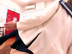 This is probably very exciting, otherwise why this Asian teen in sexy school uniform stays here, where at every minute someone can enter the class and see them fucking. She rides her teacher's dick and it might be barely legal...