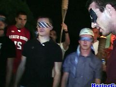 Blindfolded twinks tugging dongs at hazing