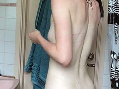 Epic Spy Cam Capture Sporty Brunette Hidden Changing Shower