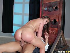 Fat ass slut anally stretched by his big cock