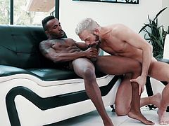 Relax and enjoy hot interracial sex action! Sexy blonde guy adores when Pheonix's big chocolate cock drills his tight asshole from behind, while he moans loudly from pleasure. Premium hardcore gay session!